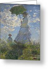 Woman With A Parasol Madame Monet And Her Son Greeting Card by Claude Monet