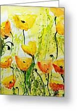 Yellow Poppy 2 - Abstract Floral Painting Greeting Card by Ismeta Gruenwald