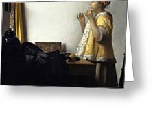 Young Woman With A Pearl Necklace Greeting Card by Johannes Vermeer