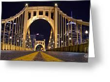 0304 Roberto Clemente Bridge Pittsburgh Greeting Card by Steve Sturgill