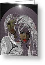 065 - White Veiled Ladies   Greeting Card by Irmgard Schoendorf Welch