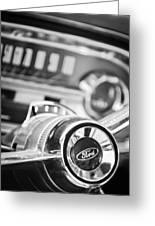 1963 Ford Falcon Futura Convertible Steering Wheel Emblem Greeting Card by Jill Reger