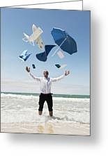 A Man Stands In The Ocean With Items Greeting Card by Ben Welsh