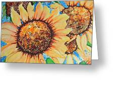 Abstract Sunflowers Greeting Card by Chrisann Ellis