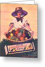 Adams California Fruit Gum 1910s Usa Greeting Card by The Advertising Archives
