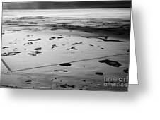 aerial view of snow covered prairies and remote isolated farmland in Saskatchewan Canada Greeting Card by Joe Fox