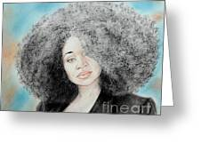 Aevin Dugas Holder Of The Guinness Book Of World Records For The Biggest Afro Greeting Card by Jim Fitzpatrick