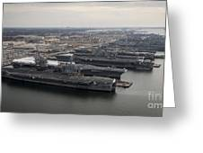 Aircraft Carriers In Port At Naval Greeting Card by Stocktrek Images