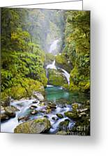 Amazing Waterfall Greeting Card by Tim Hester