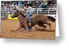 American Rodeo Female Barrel Racer White Blaze Chestnut Horse II Greeting Card by Sally Rockefeller