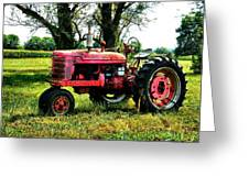 Antique Tractor Greeting Card by Julie Dant