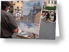 Artist At Work Rome Greeting Card by Ylli Haruni