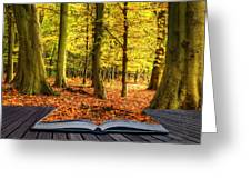 Autumn Fall Forest Landscape Magic Book Pages Greeting Card by Matthew Gibson