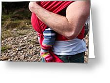 Baby Sling Greeting Card by Tom Gowanlock