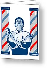 Barber With Pole Hair Clipper And Scissors Retro Greeting Card by Aloysius Patrimonio