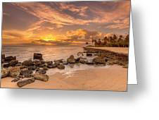 Barbers Point Light House Sunset Greeting Card by Tin Lung Chao