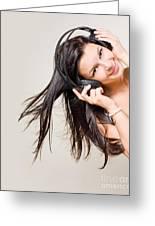 Beautiful Brunette Enjoying Music. Greeting Card by Alstair Thane