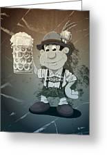 Beer Stein Lederhosen Oktoberfest Cartoon Man Grunge Monochrome Greeting Card by Frank Ramspott