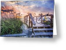 Bicycle At The Beach Greeting Card by Debra and Dave Vanderlaan