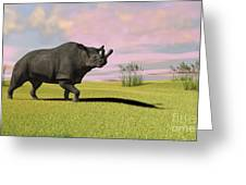 Brontotherium Grazing In Prehistoric Greeting Card by Kostyantyn Ivanyshen