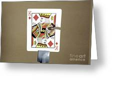 Bullet Piercing Playing Card Greeting Card by Gary S. Settles