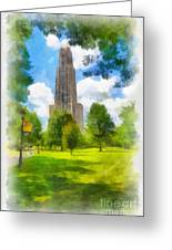 Cathedral Of Learning University Of Pittsburgh Greeting Card by Amy Cicconi