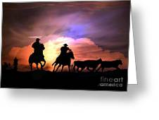 Cattle Drive Greeting Card by Stephanie Laird
