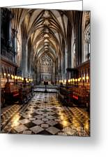 Church Interior Greeting Card by Adrian Evans