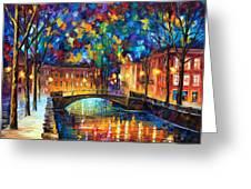 City Bridge Greeting Card by Leonid Afremov