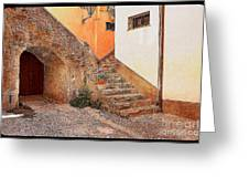 Courtyard Of Old House In The Ancient Village Of Cefalu Greeting Card by Stefano Senise