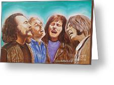 Crosby Stills Nash And Young Greeting Card by Kean Butterfield