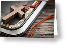 Cross on Bible Greeting Card by Elena Elisseeva
