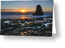 Davenport Beach Sunset 1 Greeting Card by About Light  Images