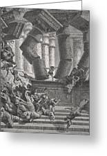 Death Of Samson Greeting Card by Gustave Dore