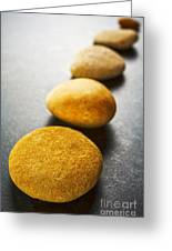 Diagonal Line Of Brown Pebbles On Dark Background Greeting Card by Colin and Linda McKie