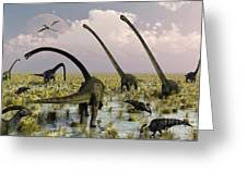 Duckbill Dinosaurs And Large Sauropods Greeting Card by Mark Stevenson