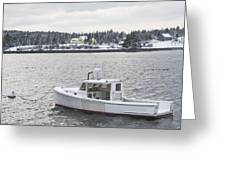 Fishing Boat After Snowstorm In Port Clyde Harbor Maine Greeting Card by Keith Webber Jr