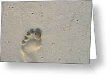 Footprint in sand on beach Greeting Card by Sami Sarkis