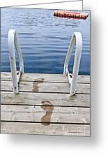 Footprints On Dock At Summer Lake Greeting Card by Elena Elisseeva