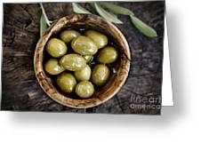 Fresh Olives Greeting Card by Mythja  Photography