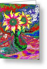 Funky Sunflowers Greeting Card by Annie Zeno