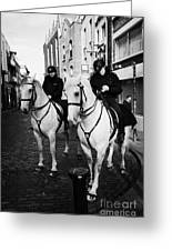 Garda Siochana Mounted Police On Horseback Taking Notes In Temple Bar Dublin Republic Of Ireland Greeting Card by Joe Fox