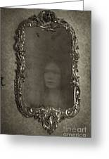 Ghost Of A Woman Reflected In A Mirror Greeting Card by Lee Avison
