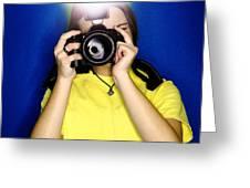 Girl Photographer Greeting Card by Lane Erickson