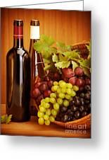 Grape Wine Still Life Greeting Card by Anna Omelchenko