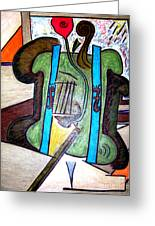 Green Cello Plants In A Pot Greeting Card by Lois Picasso