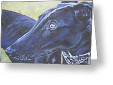 Greyhound Greeting Card by Lee Ann Shepard