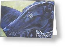 Greyhound Greeting Card by Lee Ann Shepard