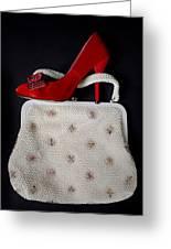 Handbag With Stiletto Greeting Card by Joana Kruse