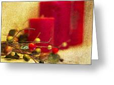 Holiday Candles Greeting Card by Rebecca Cozart